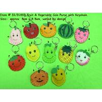 Fruit & Vegetable Coin Purse with Keychain