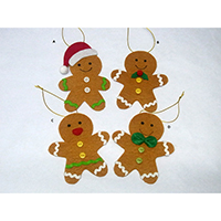 Christmas Wish Hanging Ornament. Gingerbreadman Design. Each carrying a writing card inserted at the back side. Set of 4 pieces.
