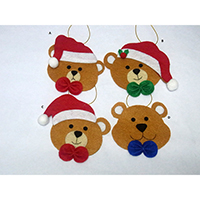 Christmas Wish Hanging Ornament. Teddy Bear Design. Each carrying a writing card inserted at the back side. Set of 4 pieces.