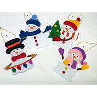 Christmas Wish Hanging Ornament. Snowman Design. Each carrying a writing card inserted at the back side. Set of 4 pieces.