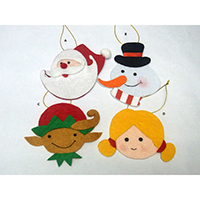 Christmas Wish Hanging Ornament. Santa, Snowman, Elf & Girl Design. Each carrying a writing card inserted at the back side. Set of 4 pieces.