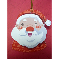 Christmas Wish-Card Hanging Ornament. Santa Claus Design. Eyes with Beads. 2 cards combined to form 1 single piece. Set of 4 pieces.