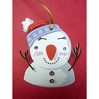 Christmas Wish-Card Hanging Ornament. Snowman Design. Eyes with Beads. 2 cards combined to form 1 single piece. Set of 4 pieces.