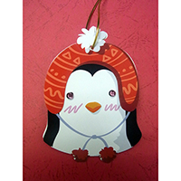 Christmas Wish-Card Hanging Ornament. Penguin Design. Eyes with Beads. 2 cards combined to form 1 single piece. Set of 4 pieces.