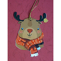Christmas Wish-Card Hanging Ornament. Reindeer Design. Eyes with Beads. 2 cards combined to form 1 single piece. Set of 4 pieces.